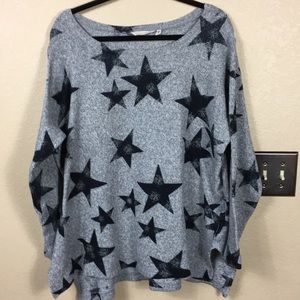 Soft surroundings gray sweater with stars size 1X